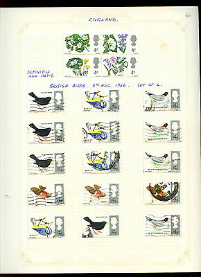 GB 1966 Birds, 1967 Flowers Album Page Of Stamps #V5170