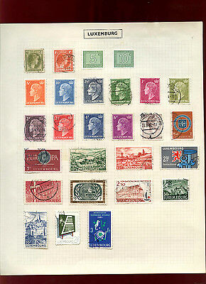 Luxembourg Album Page Of Stamps #V4975