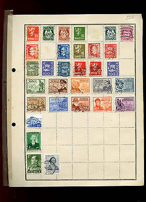 Norway Album Page Of Stamps #V5021