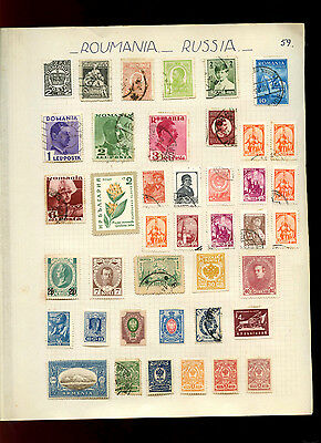 Romania, Russia Album Page Of Stamps #V5047