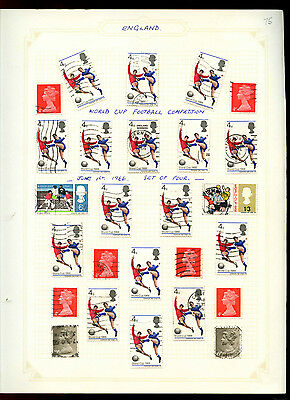 GB 1966 World Cup Football + Machins Album Page Of Stamps #V5173