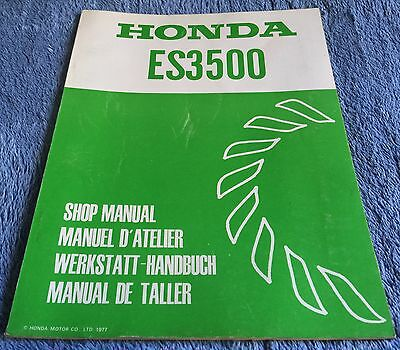 HONDA ES3500 - GENERATOR SHOP MANUAL - Genuine Factory Manual - 1977
