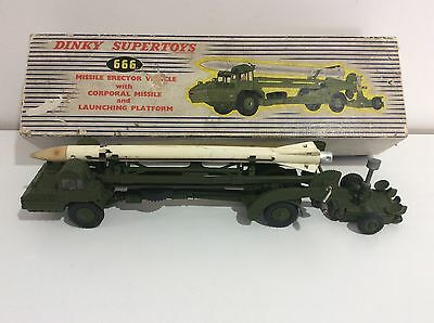 Rare DINKY SUPERTOYS 666 Missile Erector Vehicle With Missile & Platform. Boxed.