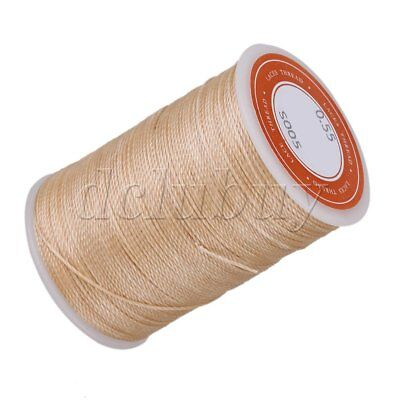 Wax Polyester Twisted Cord Beige Leather Sewing String Round Thread Line 0.55mm