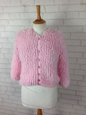 Vintage 1960's Children's Girls Pink Woolen Loop Fluffy Knitted Cardigan Age 8-9