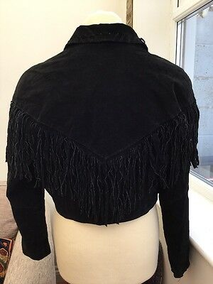 Vintage Ladies Black Tassels Suede Jacket Size. XL