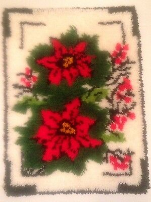 """Completed - Bucilla """"Framed Poinsettia"""" Latch Hook Rug/Wall Hanging 27"""" x 20"""""""