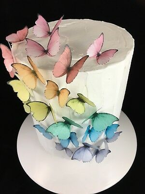 Princess Butterfly Cake Decoration 20pc Bright Rice Paper Edible Birthday Icing