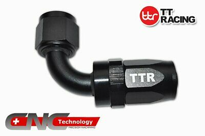 AN-10 90 Degree Reusable Swivel Fitting for Braided Fuel Hose Line TTR Black