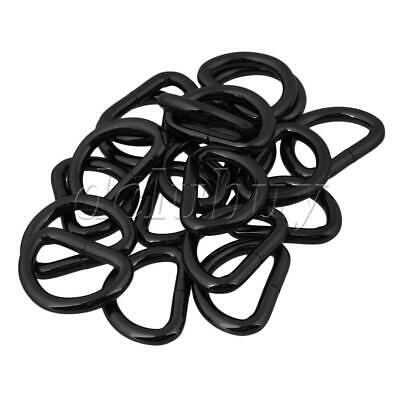 20 x Black Metal  D Ring Buckles for Strap Keeper Webbing 2.5cm ID