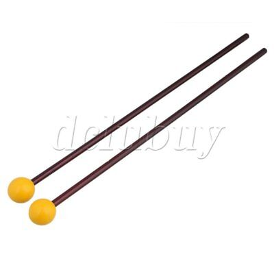 "1 Pair of 15"" Multi-Purpose Bell Mallet Yellow Plastic Head Maple Handle"