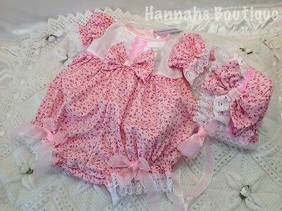 Hannahs Boutique 0-3Mth Baby Spanish Romper/bubble & Bonnet Set Or Reborn 20-24