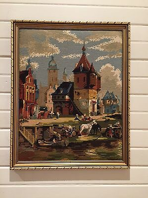 Gold Framed Tapestry - Old European Town