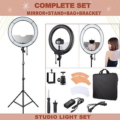 """UK ES240 18"""" 5500K Dimmable LED Adjustable Ring Light + Diffuser, Stand, Mirror"""