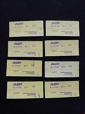 8 TICKETS METRO RATP blanche, Transports urbains Paris v.1980. collection