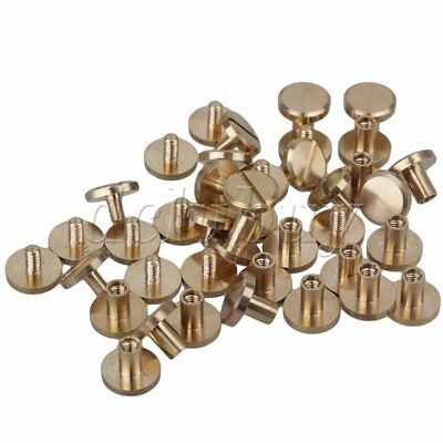 20pcs Leather Craft Solid Brass Nail Rivets Flat Chicago Binder Screws 10x4x8mm