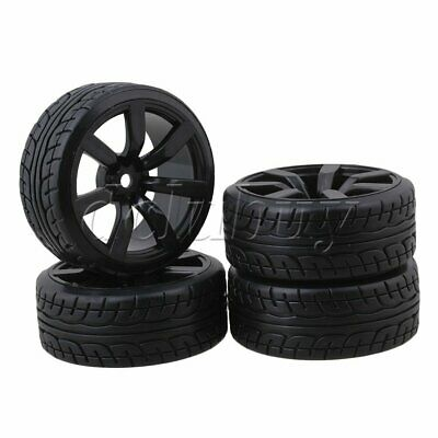 4pcs 65mm OD RC1:10 On-road Racing Car Rubber Tires With 7-spoke Wheel Rims