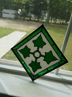 Vintage Green Leaf or Shamrock Stained Glass Panel