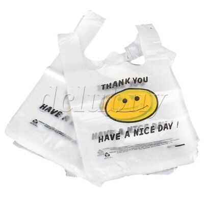 100pcs Plastic Carry Shopping Bags Smiley Smiling Smile Face Pattern 30 x 40cm