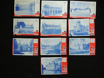 Lot de 10 buvards Pile Mazda. série Chateaux & monuments, collection