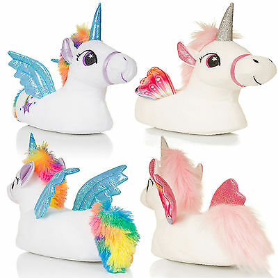 Matching Mother & Daughter Novelty 3D Plush Magical Winged Unicorn Slippers Gift