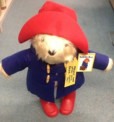 """PADDINGTON BEAR Collectable Plush Toy by Rainbow Designs (18"""") Classic Large"""