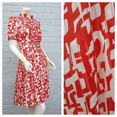 Vintage 1980s Chloe Red Abstract Print Silk Blend Frill Pleat Dress Small Medium