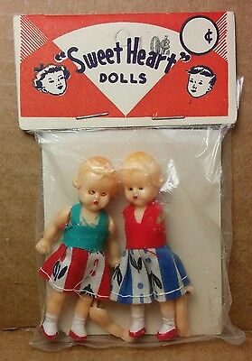 """Vintage 1950s Dime Store Hong Kong Baby Doll celluloid 2.5"""" Sweet Heart MIP"""