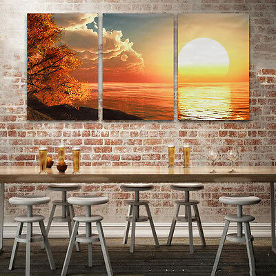 Modern Unframed Canvas Sunset View Painting Picture Decorative Wall Home Decor