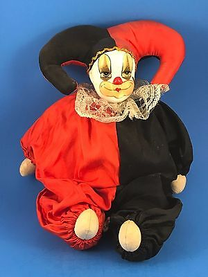 Porcelain Head Court Jester Clown Doll Red Black