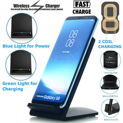Qi Wireless Fast Charger Charging Stand Dock Samsung Galaxy S8+ iPhone X 8 7 LOT