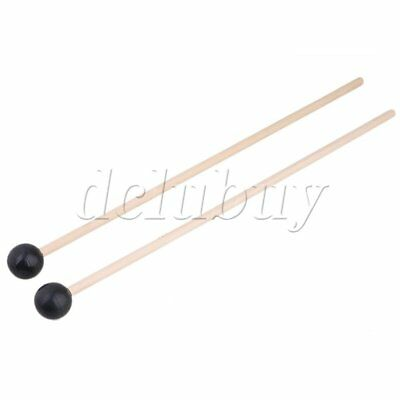 "1 Pair of 15"" Multi-Purpose Bell Stick Mallet Rubber Head Maple Handle"