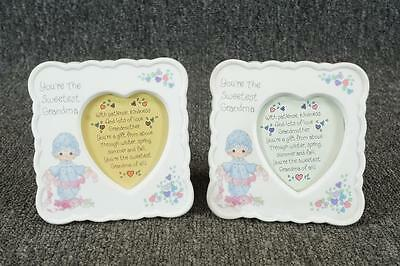 Set Of 2 Precious Moments You're The Sweetest Grandma Frames Heart-Shaped Window
