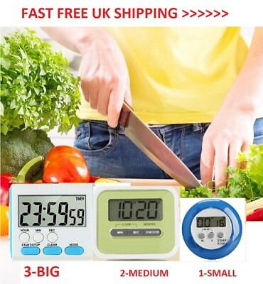 Magnetic Digital Lcd Kitchen Timer Count Up Down Egg Cooking Chef Fridge Beep