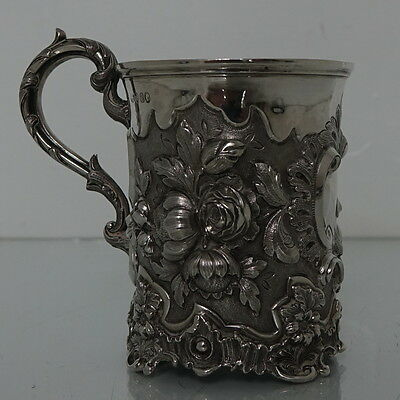 Mid 19th Century Antique Victorian Sterling Silver Christening Mug London 1848