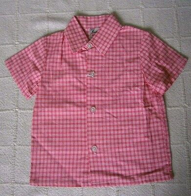 Vintage Boys Shirt - Age 2 Years - Red & White Check - Poly/Viscose - New