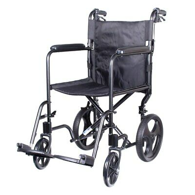 Aluminium Transit Wheelchair with Hand Brakes and 12 Rear Wheels by Viva Medi