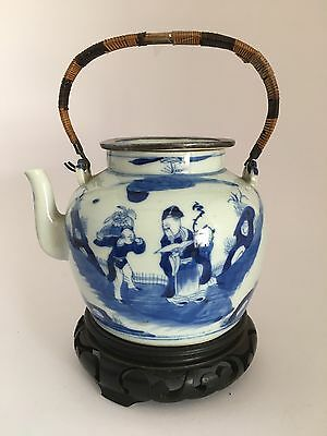 19Th-Century Chinese Porcelain B&W Teapot