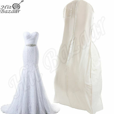 BRIDAL WEDDING DRESS Storage Gown Prom Garment Bag Center Zipper X Large White