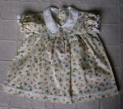 Vintage Baby Dress - Age - 6-9 months - Cream - Floral Print - Poly/Cotton - New