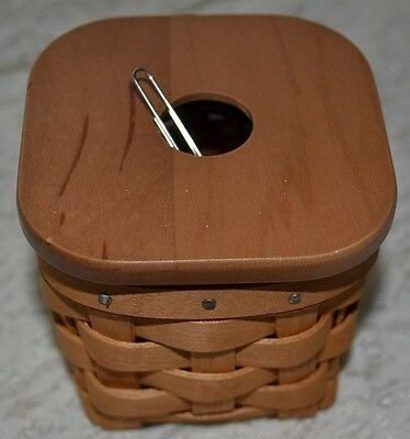 Longaberger 2006 PAPER CLIP KEEPER BASKET Set w Magnetic Lid and Protector NEW