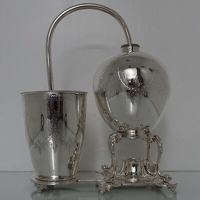 19th Century Victorian Antique Silver-Plated Coffee Machine Circa 1870