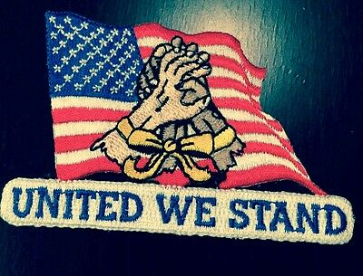 United We Stand America Flag Custom Embroidered Patriotic Patch