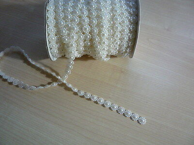 10 Mm - Ivory Flower Trim - Flat Back Pearl - Brand New - 1 Metre