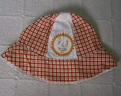 Vintage Childs Sun Hat - 1 Year Plus Approx - Red Check - Cotton - New