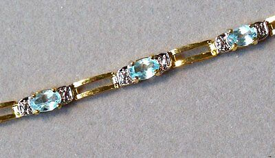 NATURAL DIAMOND BLUE TOPAZ 18K YELLOW GOLD over STERLING SILVER BRACELET NEW OLD
