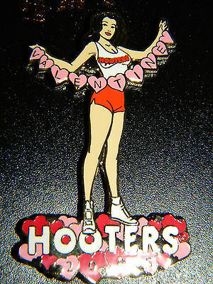 NWT Hooters Happy Valentine Day 2005 Enamel Lapel Collector Pin Brunette Girl