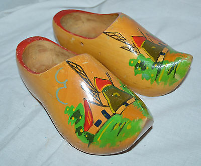 Hand Carved and Hand Painted Wooden Collectors Clogs