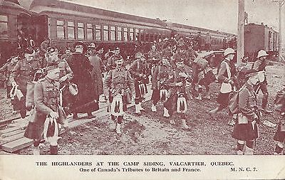 Highlanders at Siding C.E.F. Mobilisation Camp VALCARTIER Quebec Canada WWI