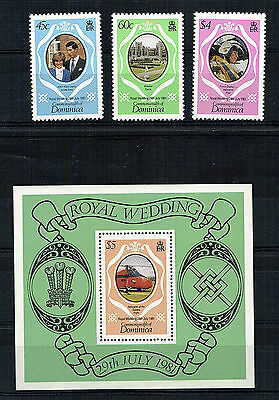 Dominica 1981 Royal Wedding Set Of All 3 & The Miniature Sheet Mnh